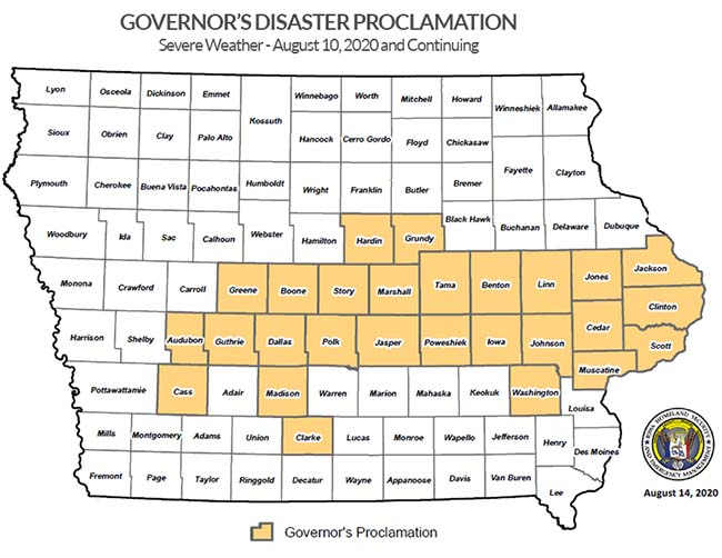 Presidential Disaster Declaration, DR-4557 State of Iowa Map