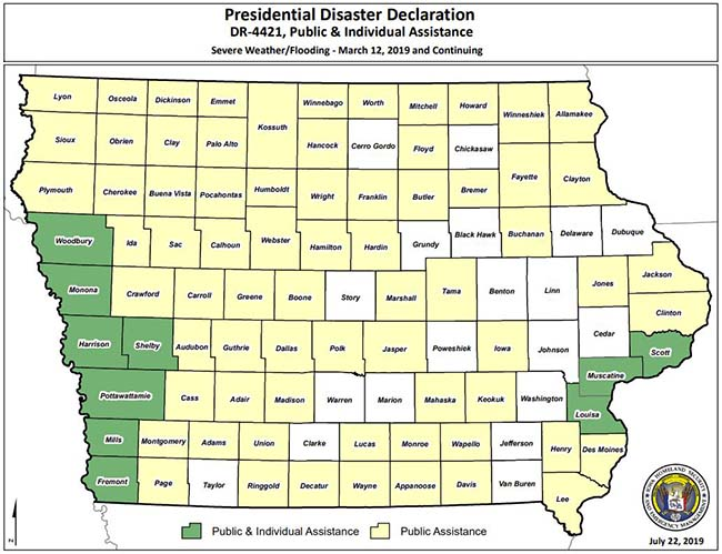 Presidential Disaster Declaration counties March 12 through May 16, 2019