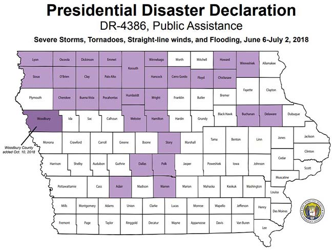 Presidential Disaster Declaration, DR-4386 State of Iowa Map