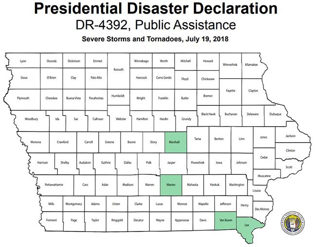 Map of counties included in Presidential Disaster Declaration 4392 for Public Assistance: Lee, Marion, Marshall, and Van Buren.