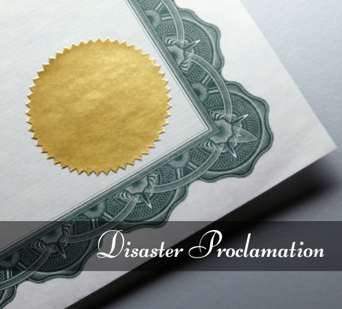 Disaster Proclamation document with gold seal